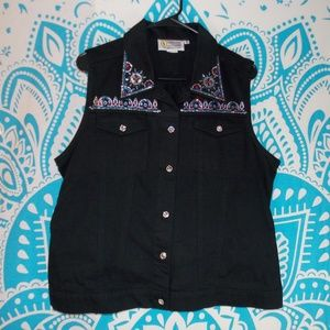 Vintage Black Jean Vest Gem Studded Punk Large L